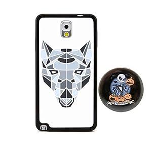 狼3d多边形动物头像浮雕设计风格 塑料 tpu手机壳 手机套 适用于 附赠