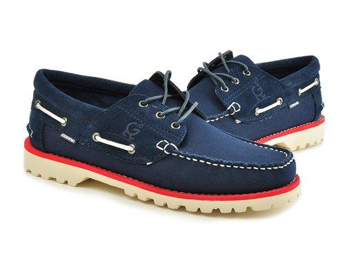 Gonna 高乐 意式车线缝边简洁舒适帆船鞋 男 男帆布鞋 C3525-2 blue