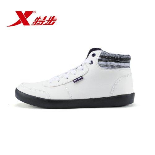 XTEP 特步 男鞋英伦格子潮流中帮运动休闲男滑板鞋