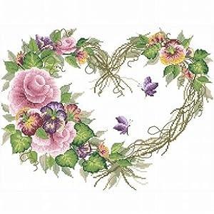 dmc 多美绣 大幅客厅卧室欧式花卉油画蝴蝶玫瑰心 法国 十字绣 11ct 3