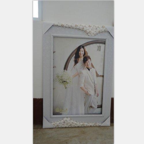 山鸟36寸影楼简约韩式珍珠皮雕婚纱照片专业影楼婚纱相框 10个起发 36