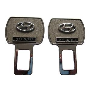 纳斯里 高级真皮安全带静音插扣灰色 现代系列1对装*2个(不锈钢材质+双面真皮+立体车标)