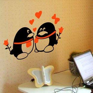 浪漫屋 墙贴〖可爱qq情侣1-163〗书房 爱情时尚装饰 儿童贴纸 黑色