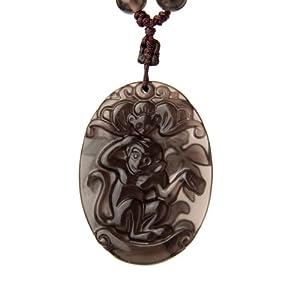 云图 天然冰种黑曜石双面精雕十二生肖纯手工编绳珠链