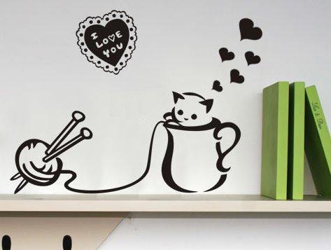茶杯和小猫 新饰线墙贴 马桶贴可爱儿童墙壁贴纸卡通装饰背景墙 黑