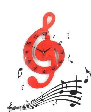 yida 音符 创意 挂钟 卡通 壁钟 时尚 客厅 挂表 田园 卧室 静音 个性图片