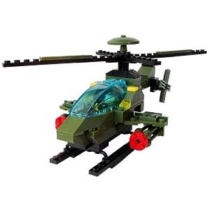 乐婴坊 拼装直升飞机模型积木 拼装积木 组装益智飞机模型玩具