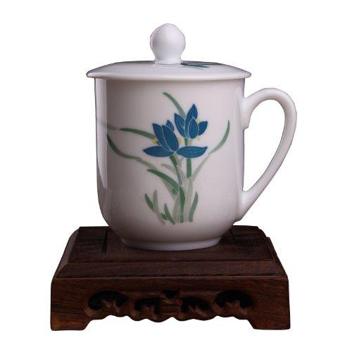 Snowwolf 雪狼 毛瓷 7501 釉下彩陶瓷泡茶杯带盖 办公室礼品杯子 兰草 CZY-图片