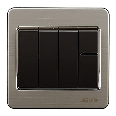 开关面板龙胜开关插座q8传奇系列套黑色四开单控荧