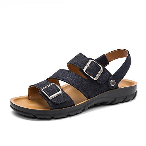 MULINSEN 木林森凉鞋 男夏季透气真皮凉拖鞋两穿韩版流行休闲耐磨沙滩鞋子