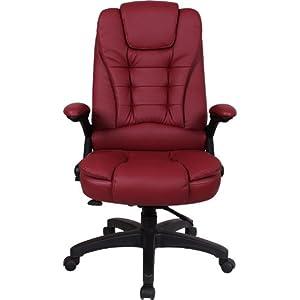 空白格 可躺电脑椅 办公椅 职员椅 大班椅 皮椅子JC-8015 (酒红色, 尼龙脚)