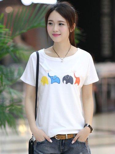 赫薇 2014夏装新款女装韩版宽松短袖女T恤百搭打底衫 GDN612830