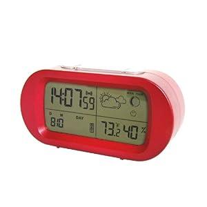 MAX HOME 超大屏幕 LCD帶背光鬧鍾 創意溫濕度多功能日曆桌鍾 懶人鬧鍾 紅