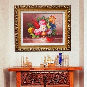 煌巢尚品 手绘古典花静物酒杯油画 餐厅装饰画 欧式壁画书房挂画 酒店