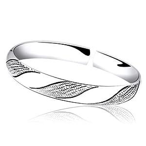 百银s990足银手镯 经典系列-s线条女士纯银手镯 (纯手工打制錾刻-尺寸