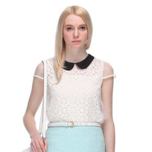 Five Plus 女式 雪纺镂空泡泡短袖衬衫 213201429001