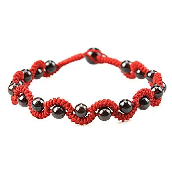 天然水晶手链 纯天然石榴石手编红绳手链