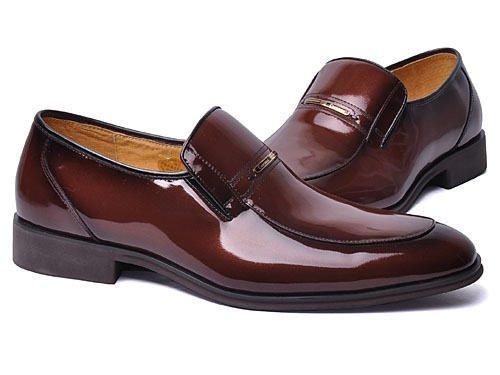 Crocodile 鳄鱼恤 尖头套脚牛皮时尚正装鞋 男 brown