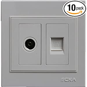 CKA世加开关插座  电视+电话插座