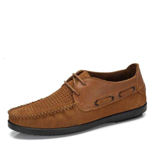 骆驼牌 2014春夏新款男鞋 头层牛皮日常休闲 耐磨透气鞋 W422118004
