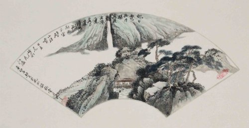 回至 锦翰堂 浔阳湖 写意风景画 扇形黑白客厅装饰画 简约时尚有框画