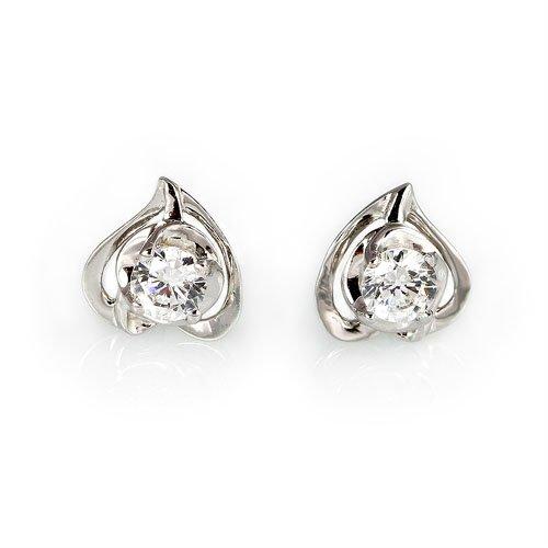 王廷珠宝 925银 爱你在心口耳钉 送925银耳托-图片
