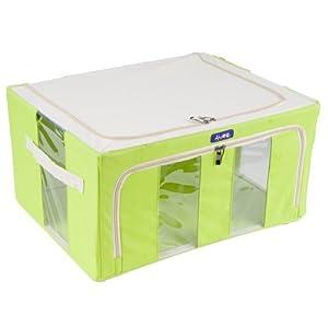 馨適收納箱超高規格牛津布箱蓋防水,面料防揉搓pvc塗層三面可折疊鍍鉻鋼架支撐十年保固 (草綠)