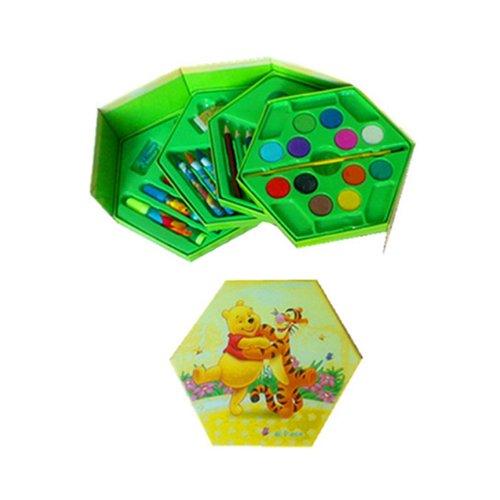 儿童学习用品   儿童全套彩笔绘画文具套装礼盒  生日礼物(共46件组合) (维尼熊套装)-图片