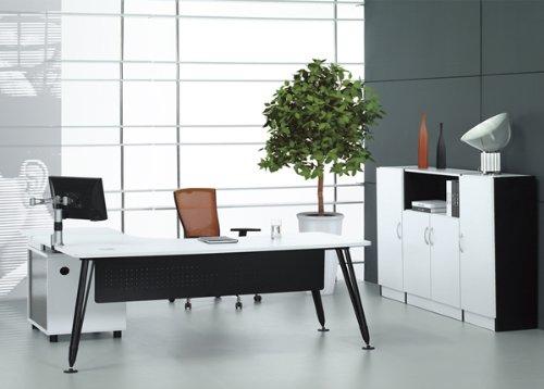 达蕾尔 现代老板桌 简约欧式写字台 白色办公桌 时尚书桌 铝脚 办公