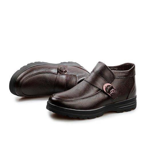 Yulu 优牛 秋冬时尚加绒商务休闲鞋潮流高帮正装皮鞋保暖套脚真皮棉鞋