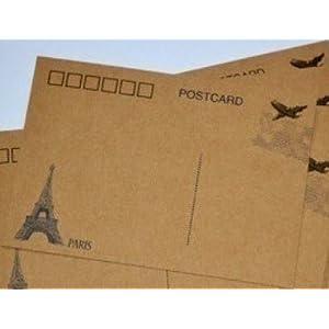 雅莎卡 空白明信片010可邮寄明信片 diy手绘牛皮卡 巴黎铁塔款