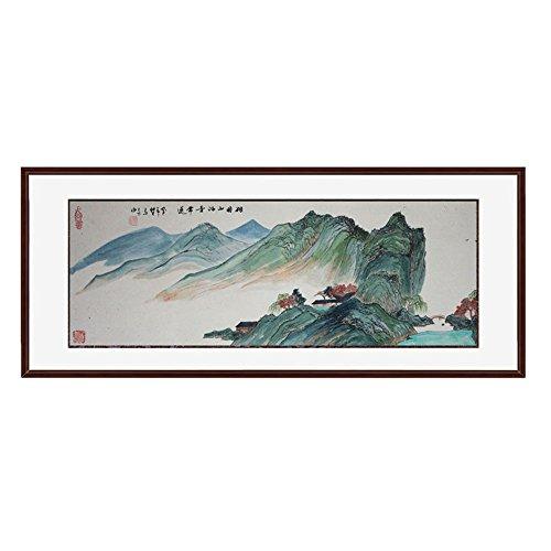 锦翰堂 手绘国画书画有框画 国画山水《祖国山河青常送》120*50cm