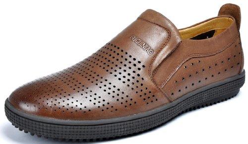 FGN 富贵鸟 夏季新款真皮冲孔透气皮鞋 低帮鞋 镂空套脚皮凉鞋 商务休闲时尚男士皮鞋