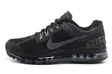 nike耐克2013新款女子airmax+全掌气垫跑步鞋运动鞋黑灰高清图片