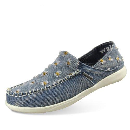 walu沃尔卢个性破洞补丁乞丐鞋水洗牛仔帆布鞋沃尔卢一脚蹬舒适男鞋W301