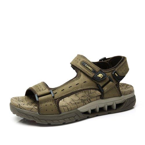 Camel 骆驼男鞋 凉鞋 时尚休闲舒适男士沙滩鞋 2014新款夏季魔术贴牛皮男凉鞋A422307008