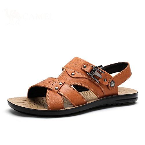 Camel 骆驼 男鞋 2015夏季新款牛皮磨砂皮沙滩鞋 休闲舒适凉鞋A522287312