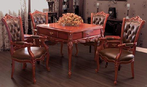 欧式实木雕花麻将桌餐桌