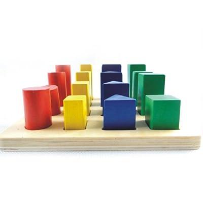 木童木制玩具早教益智立体几何体阶梯积木拼板拼图