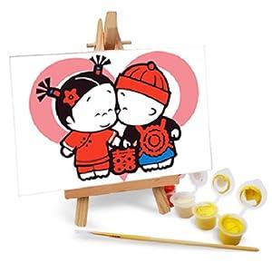 自油自画 数字油画diy手绘 动漫卡通迷你油画 送木架多款选 小破孩