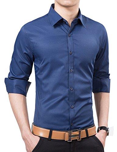 UYUK 有衣有靠 新款男士长袖衬衫 韩版时尚纯色修身衬衣 男装商务休闲衬衫潮青年