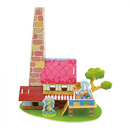 儿童益智玩具 木质拼搭小房子手工制作彩色小房子 mx7214-0015 f112