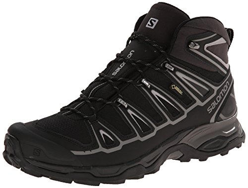 Salomon Men's X Ultra Mid 2 GTX Multifunctional Hiking Boot, Black/Black/Aluminum, 7 M US