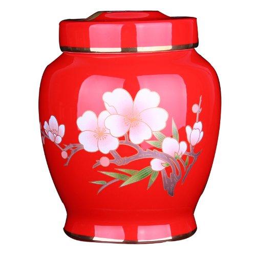 Snowwolf 雪狼 彩梅 茶叶罐 中国红陶瓷 结婚礼物 乔迁礼品 礼盒 大唐源品牌-图片