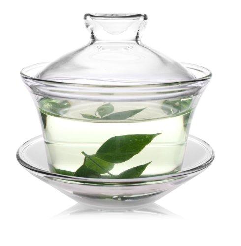 150ml古风耐热带盖碟玻璃盖碗/泡茶杯/茶具gw