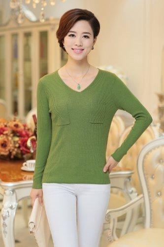 AngelDaily 每日天使 高端定制 V领长袖套头打底女式羊毛衫 E850783