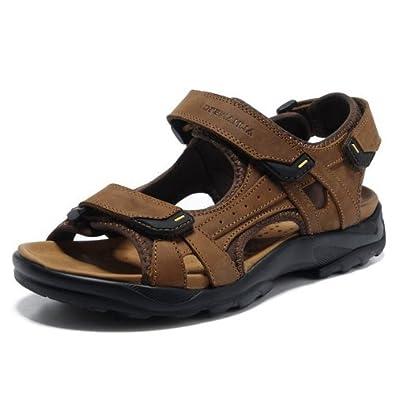 DEEWAHUA夏季凉鞋男士沙滩鞋真皮休闲新款潮A2038