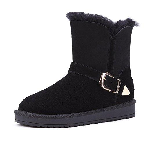 Acesc 艾斯臣 雪地靴 女羊皮毛一体保暖中筒靴 真皮短靴女靴子棉靴2015冬