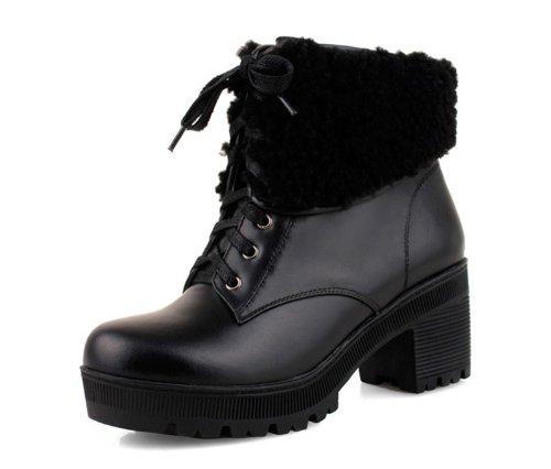 约修亚 女靴2013秋冬新款时尚羊毛真皮粗跟靴高跟短靴女KX18102