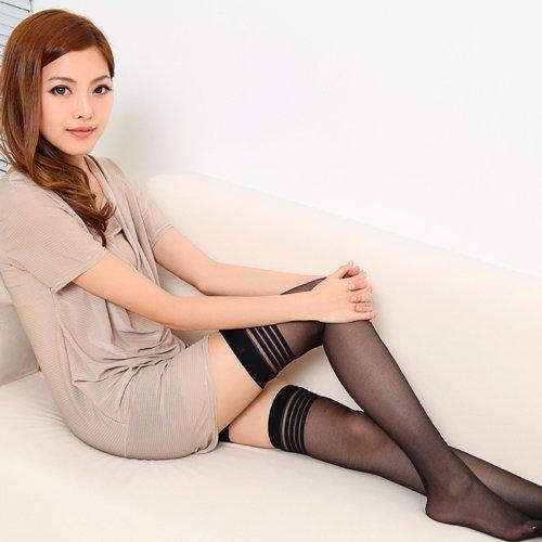 lang sha 浪莎 女士超薄性感过膝长筒袜 美腿黑丝诱惑